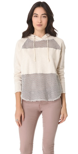 Shop Free People Mesh Panel Hoodie and Free People online - Apparel,Womens,Sweaters,Pull_Over, online Store