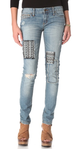 Shop Free People Patched Skinny Jeans and Free People online - Apparel,Womens,Bottoms,Jeans, online Store