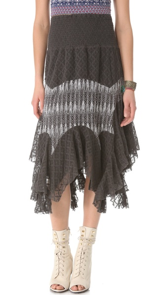 Free People Mixed Lace Skirt