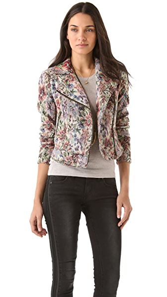 Free People Floral Moto Jacket