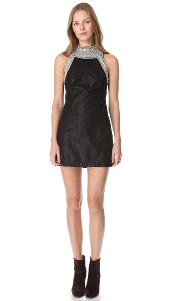 Free People Embellished Vegan Leather Dress
