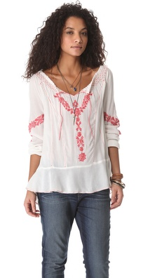 Free People Rolling Stone Woven Top