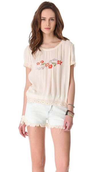 Free People Springtime Woven Tee