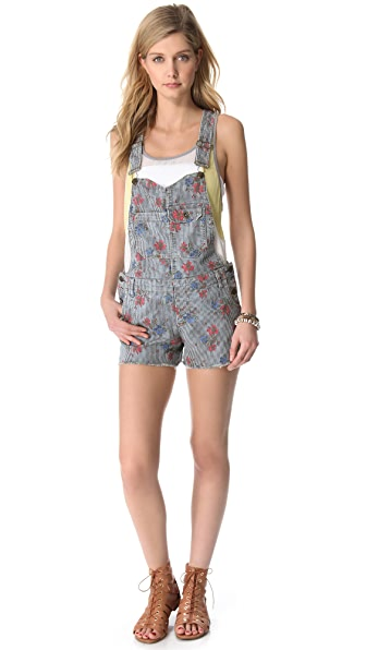 Free People Boyfriend Short Overalls
