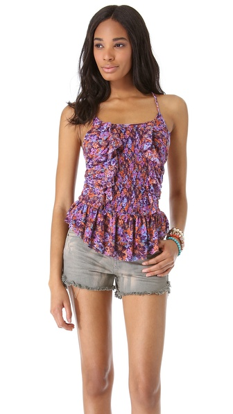Free People Smocked & Ruffled Top