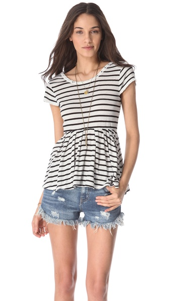 Free People Crazy Daisy Reversible Peplum Top