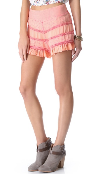 Free People Acid Washed Ruffle Shorts