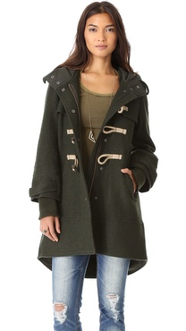 Free People Boiled Wool Military Pea Coat