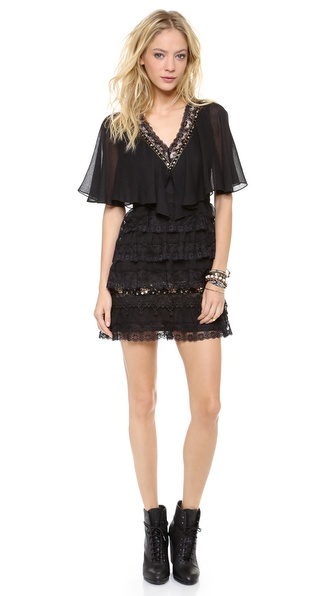 Free People Tiered Lace Mini Dress