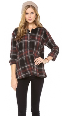 Free People Johnny Plaid Top