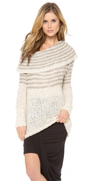Free People Striped Cowl Sweater