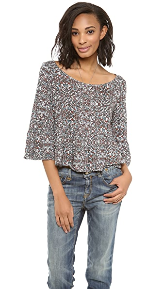 Free People Sue's Swinging Printed Peplum Top