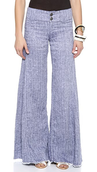 Free People Linen Wide Leg Pants