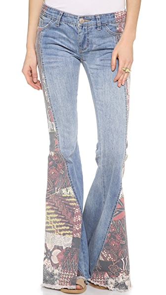 Free People Patchwork Bali Flare Bottoms