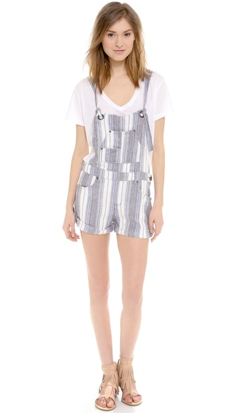 Free People Slouchy Linen Shortalls - Chambray Combo at Shopbop / East Dane
