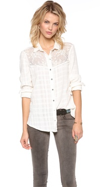Free People Solid Saddle Up Button Down