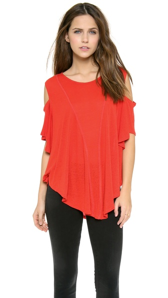 Free People Cold Shoulder Seamed Top