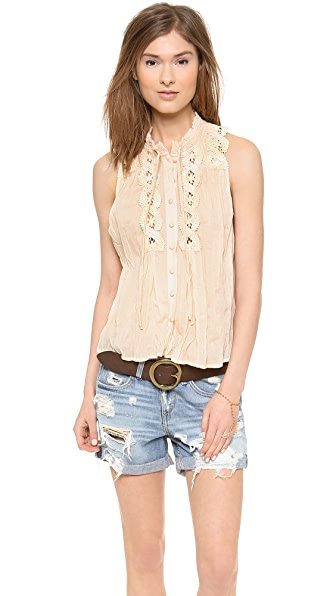 Free People Lace Inset Blouse