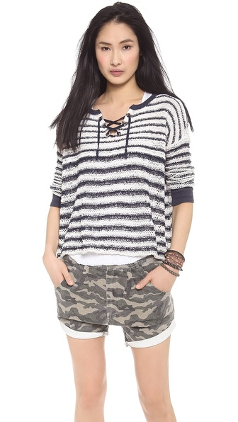 Free People Lace Up Pullover