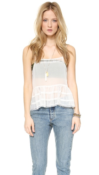 Free People Square Neck Ruffle Cami