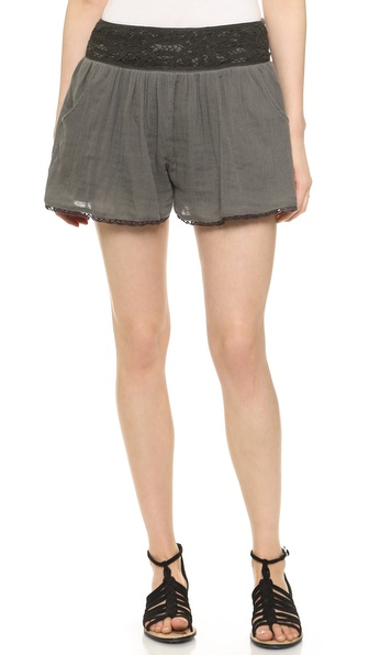 Free People Crochet Mid Rise Shorts