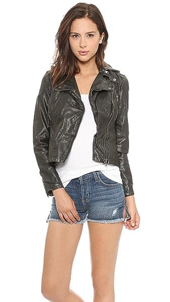Free People Vegan Leather Hooded Moto Jacket