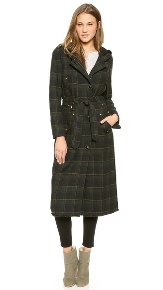 Free People Textured Plaid Maxi Coat