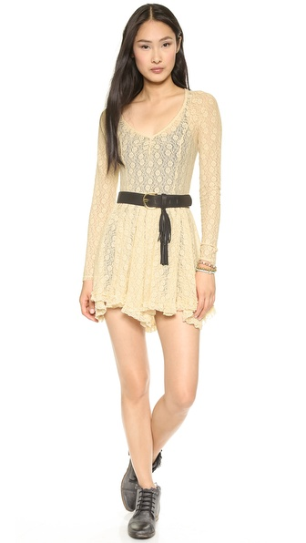 Free People Star Lace Witchy Long Sleeve Slip
