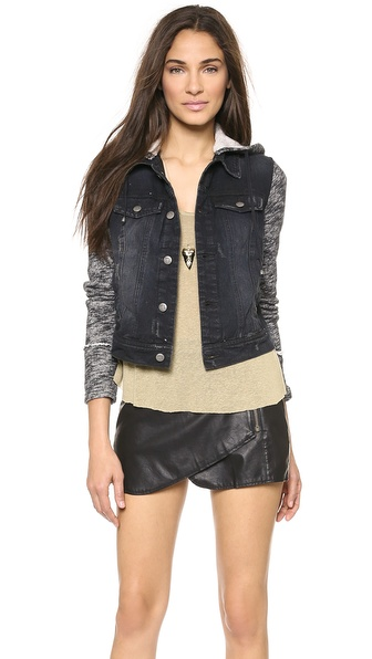 Free People Denim Knit Jacket