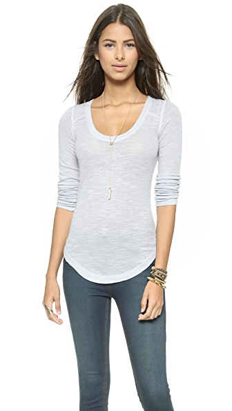 Free People Layering Me Long Sleeve Top - Light Blue