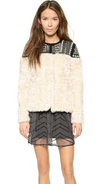 Free People Faux Fur Embellished Jacket - Ivory