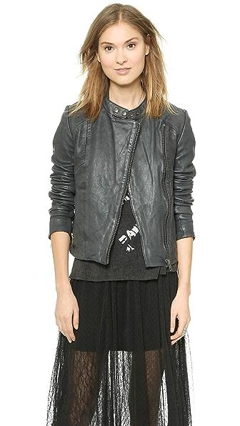 Free People Vintage Leather Moto Jacket - Black