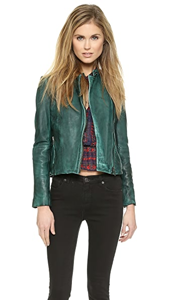 Free People Vintage Leather Moto Jacket - Emerald Green