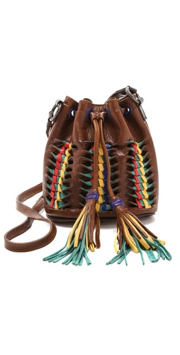 Kupi Frye tasnu online i raspordaja za kupiti Multicolored strips detail the exterior and drawstring tassels on this leather Frye bucket bag. A canvas zip pocket details the unlined interior. Adjustable shoulder strap.  Leather: Cowhide. Weight: 31oz / 0.88kg. Imported, Mexico.  MEASUREMENTS Height: 8in / 20cm Length: 9in / 23cm Depth: 5in / 12.5cm Strap drop: 24in / 61cm - Cognac