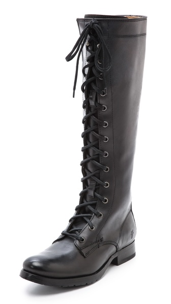 Shop Frye online and buy Frye Melissa Tall Lace Up Boots Black - A lace up shaft brings a grunge feel to these sturdy, knee high Frye boots. Instep zip. Stacked heel and leather sole. Leather: Cowhide. Imported, Mexico. This item cannot be gift boxed. Measurements Heel: 1in / 25mm Shaft: 16in / 40.5cm Circumference: 13.5in / 34.5cm. Available sizes: 5.5,6,6.5,7,7.5,8,8.5,9,9.5,10
