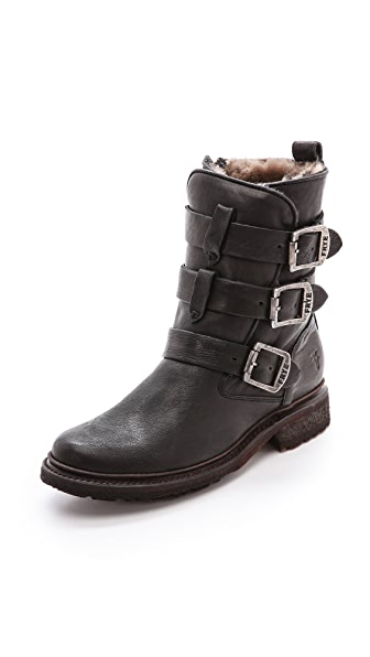 Frye Valerie Shearling Strappy Boots Shopbop