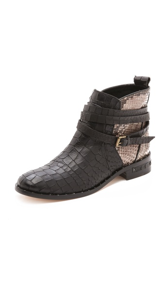 Freda Salvador Dream Mixed Media Booties :  python booties buckles style