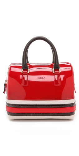 Kupi Furla tasnu online i raspordaja za kupiti A slick rubber Furla satchel with a striped leather bottom. The top zip opens to a semi-lined interior. Gold-tone hardware and feet. Double rolled handles. Dust bag included.  Weight: 20oz / 0.57kg. Made in Italy.  MEASUREMENTS Height: 8in / 20cm Length: 10in / 25.5cm Depth: 6in / 15cm Handle drop: 5in / 12.5cm - Flame/Petal