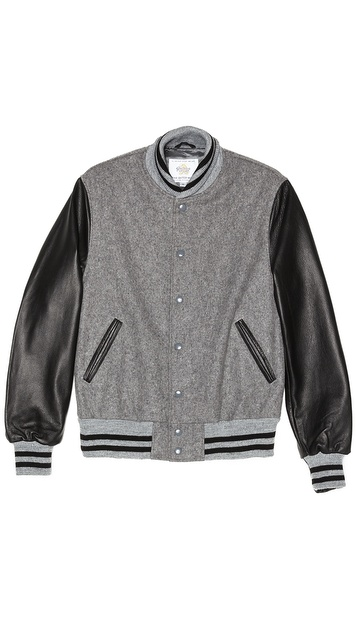 Golden Bear Grey Melton Varsity Jacket