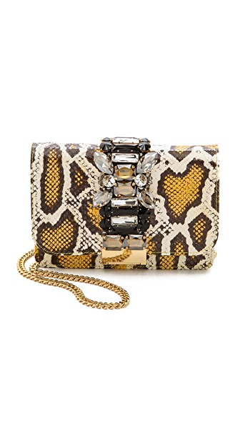 Gedebe Clicky Snakeskin Shoulder Bag - White/Yellow