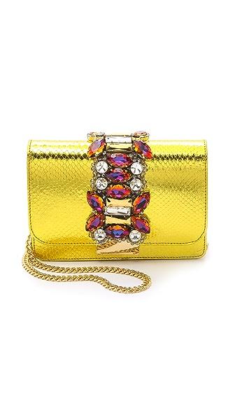 Gedebe Clicky Metallic Snakeskin Shoulder Bag - Gold