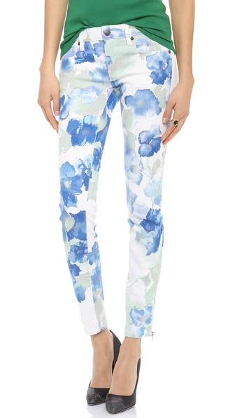 Genetic Denim James Floral Lurex Skinny Jeans