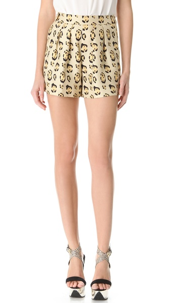 Giambattista Valli Leopard Pleated Shorts