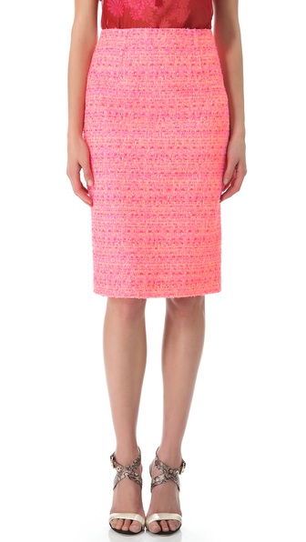 Giambattista Valli Neon Tweed Pencil Skirt