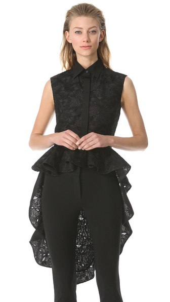 Giambattista Valli Ruffle Train Jacquard Blouse