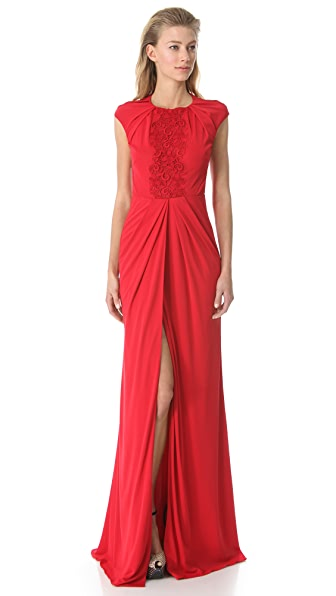 Giambattista Valli Draped Gown with Embroidered Bib