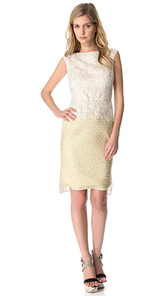 Giambattista Valli Lace to Gold Dress