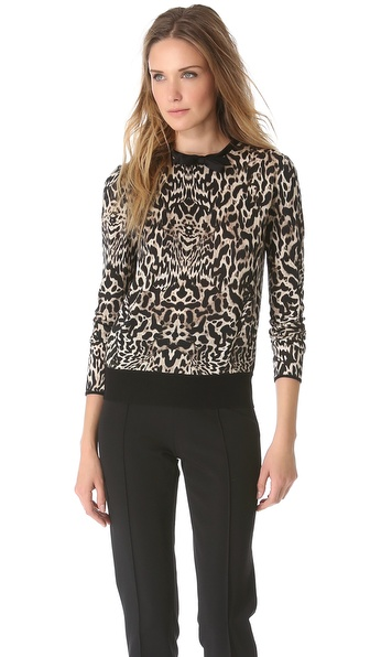 Giambattista Valli Leopard Bow Neck Sweater