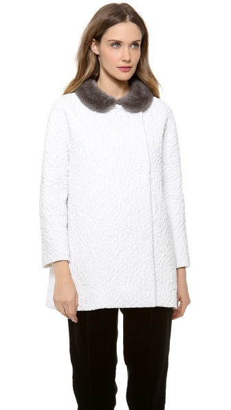 Giambattista Valli Wool Jacket with Fur Collar