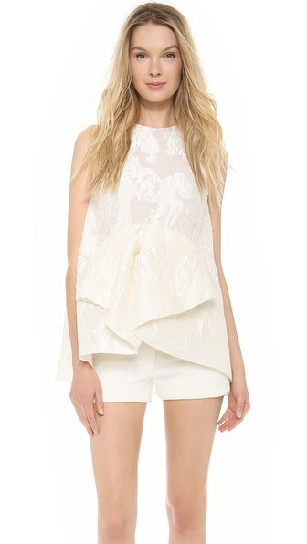 Giambattista Valli Flocked Peplum Top